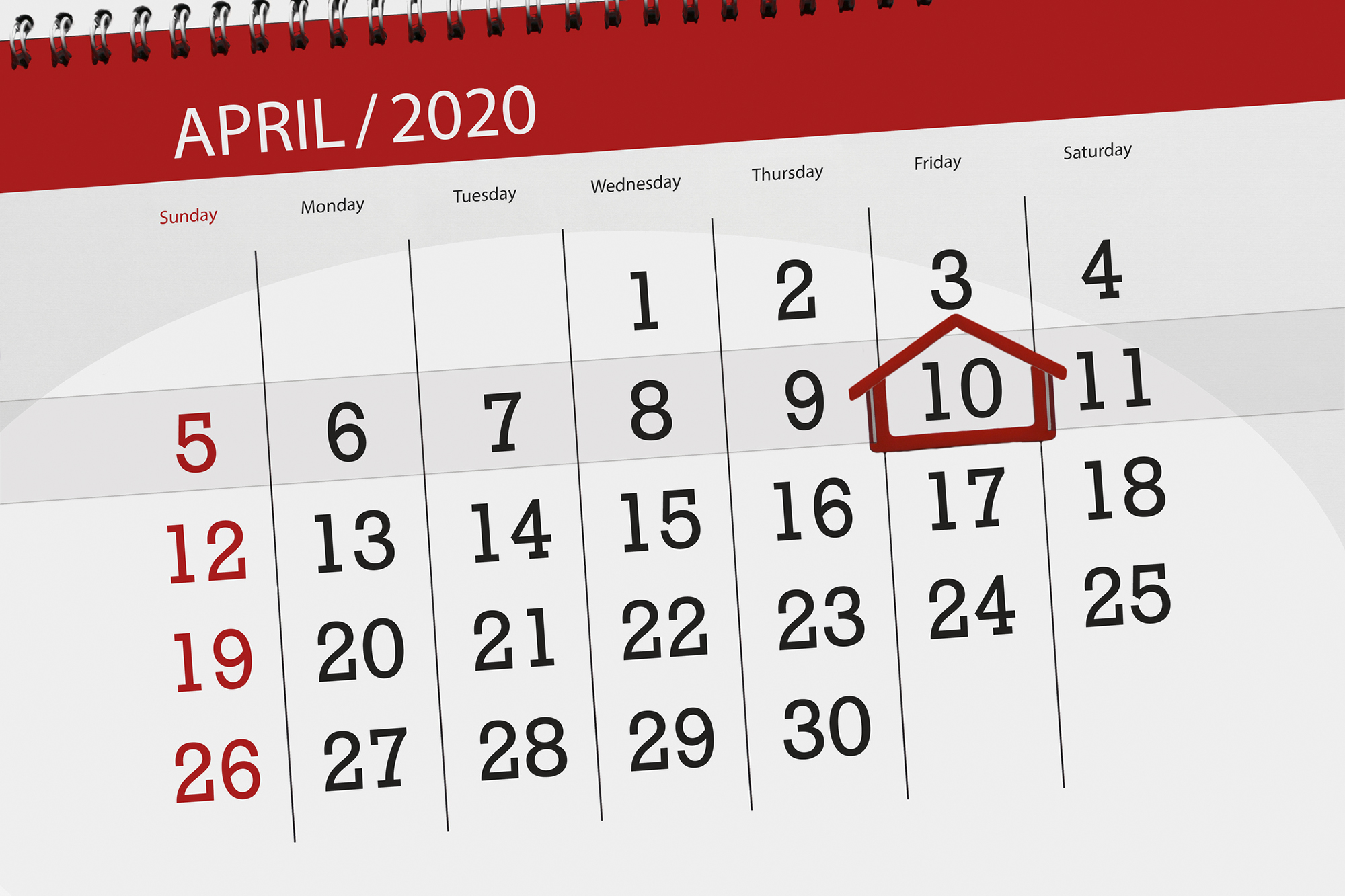 A calendar indicates that California's property tax payments are still due by April 10, despite the coronavirus pandemic. Image by iStock with alternations by Anne Wernikoff for CalMatters
