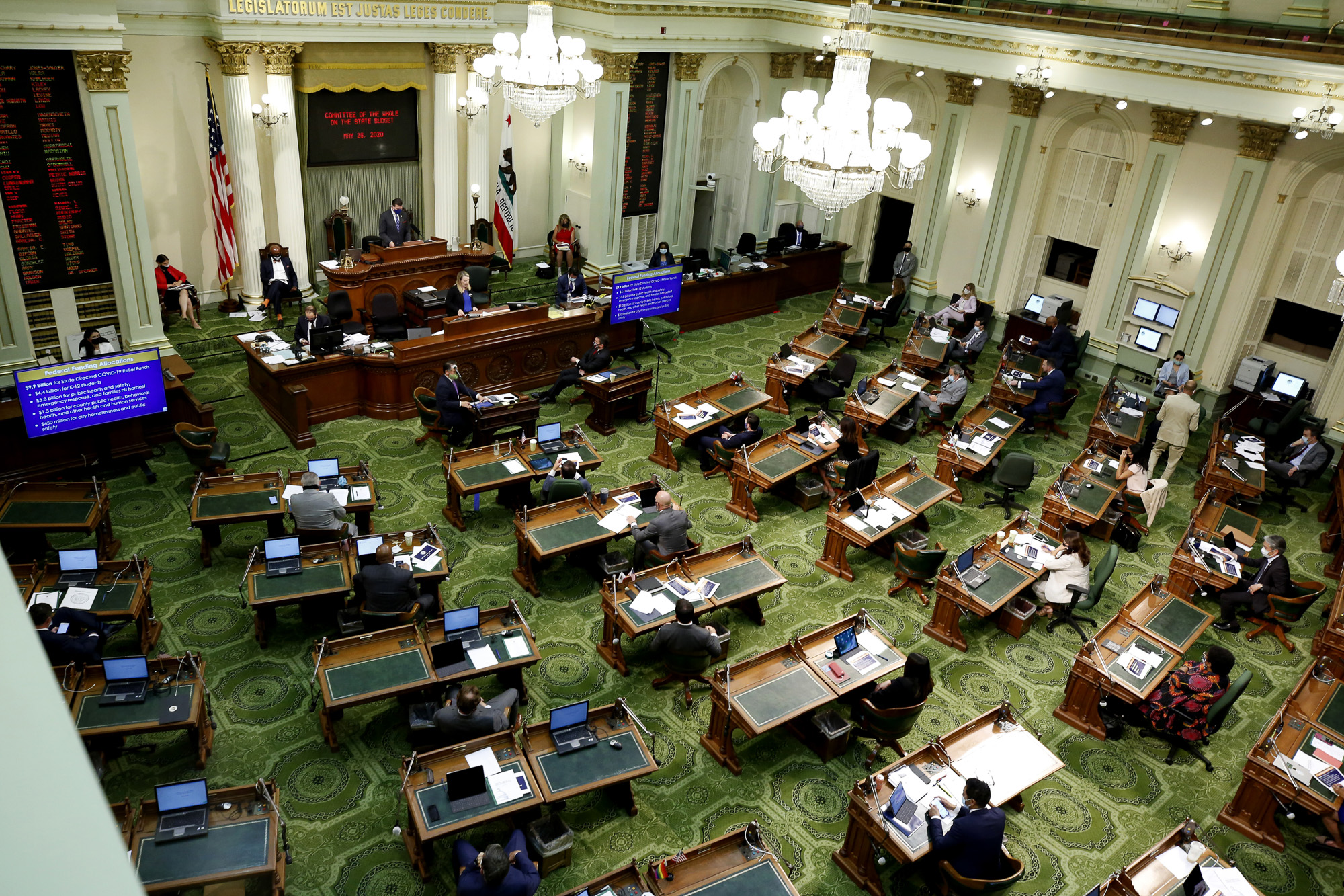 """Members of the state Assembly met as a """"Committee of the Whole on the State Budget"""" to question Gov. Gavin Newsom's administration about its plan to fill an estimated $54.3 budget deficit because of the coronavirus at the Capitol on May 26, 2020. Photo by Rich Pedroncelli, AP Photo/Pool"""