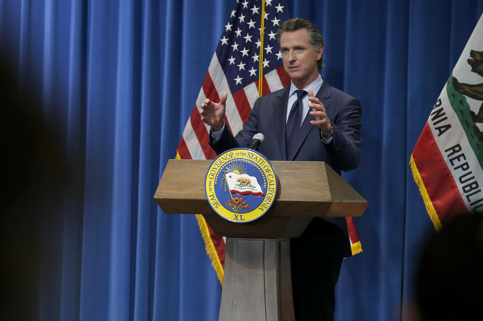 Gov. Gavin Newsom discusses his revised 2020-2021 state budget during a news conference in Sacramento on May 14, 2020. Photo by AP Rich Pedroncelli, AP Photo/Pool