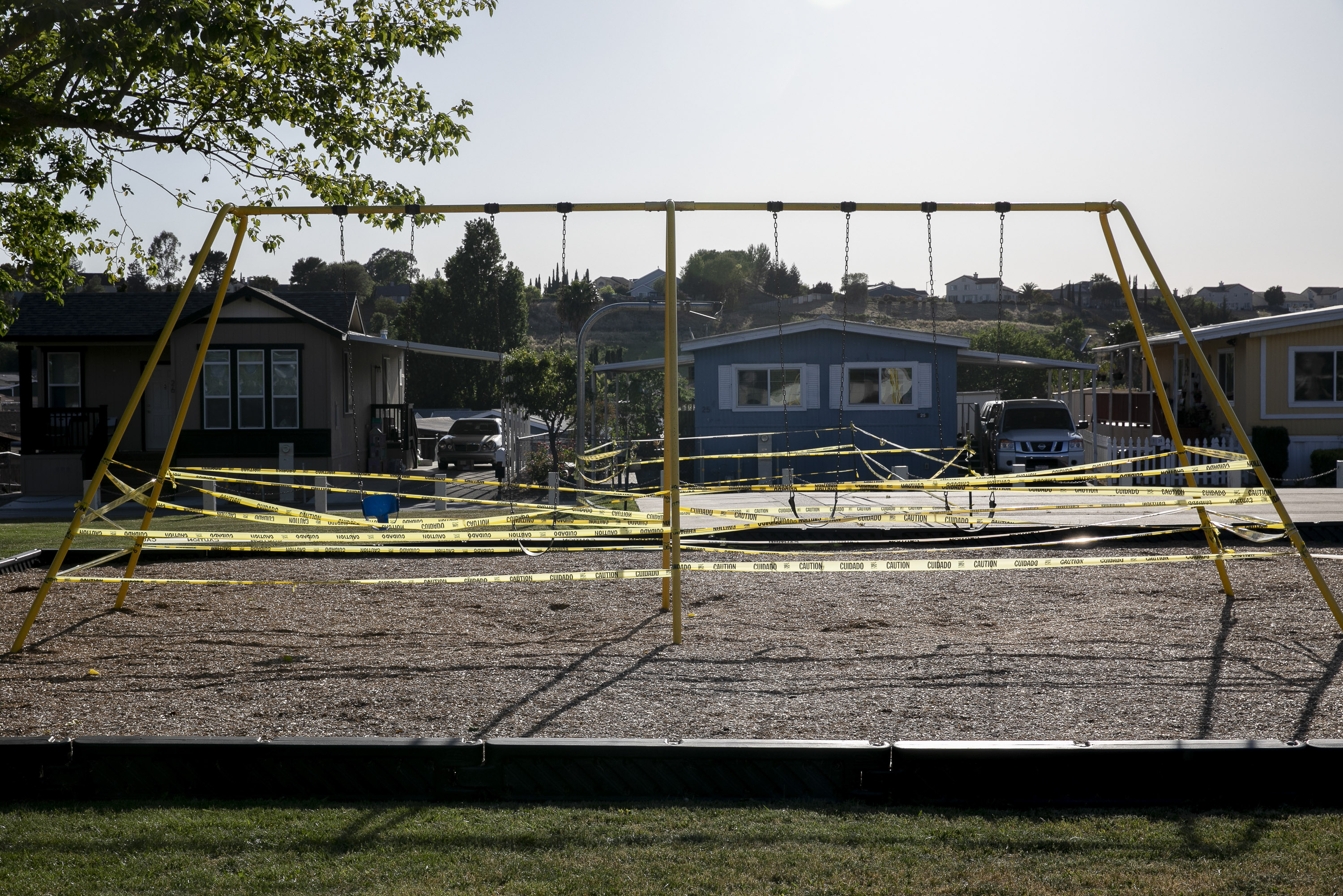 A taped-off swing set at Fairgrounds mobile home park in American Canyon on May 6, 2020. Photo by Anne Wernikoff for CalMatters