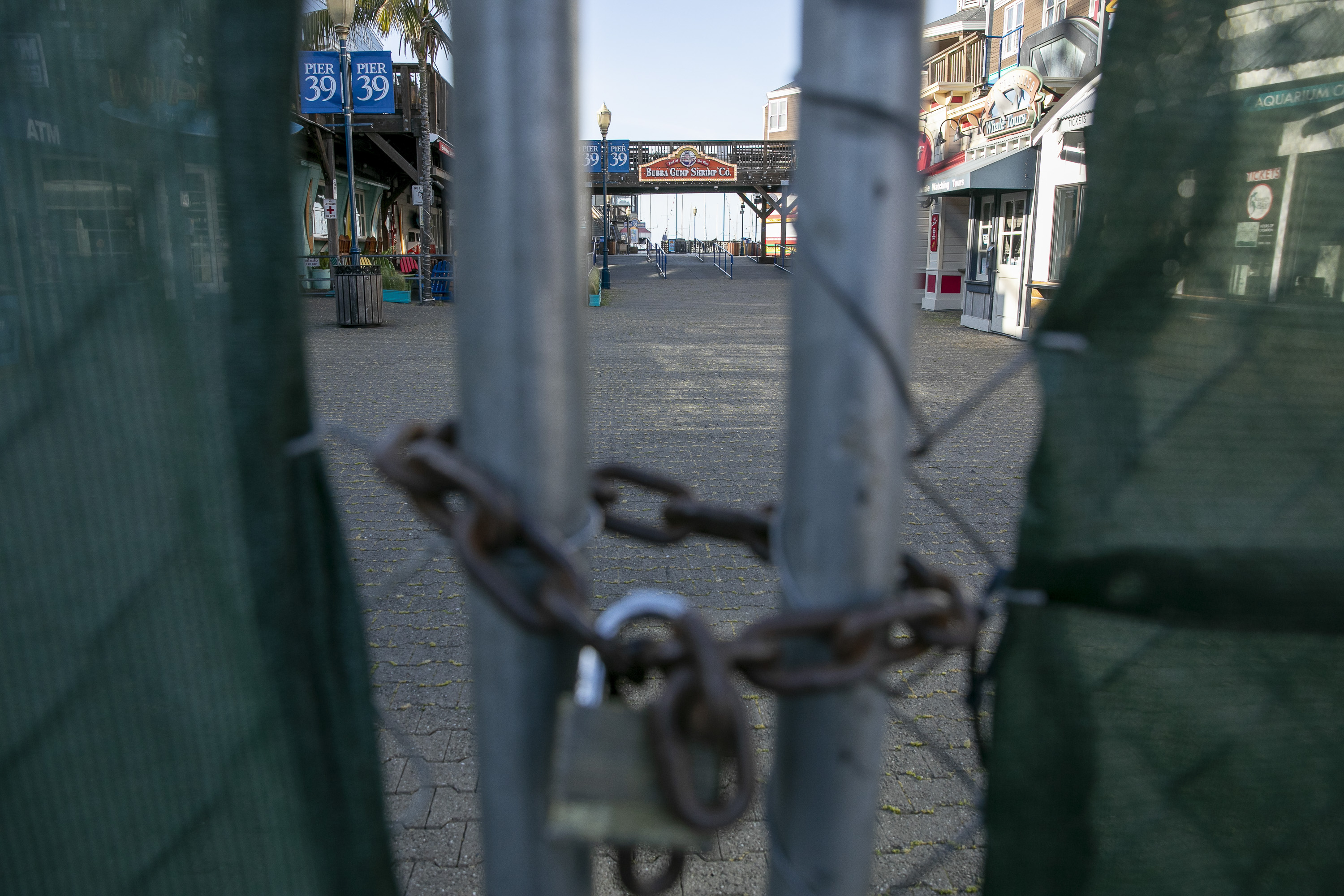 The padlocked entrance to pier 39 at Fisherman's Wharf in San Francisco remains closed on May 7, 2020. Photo by Anne Wernikoff for CalMatters