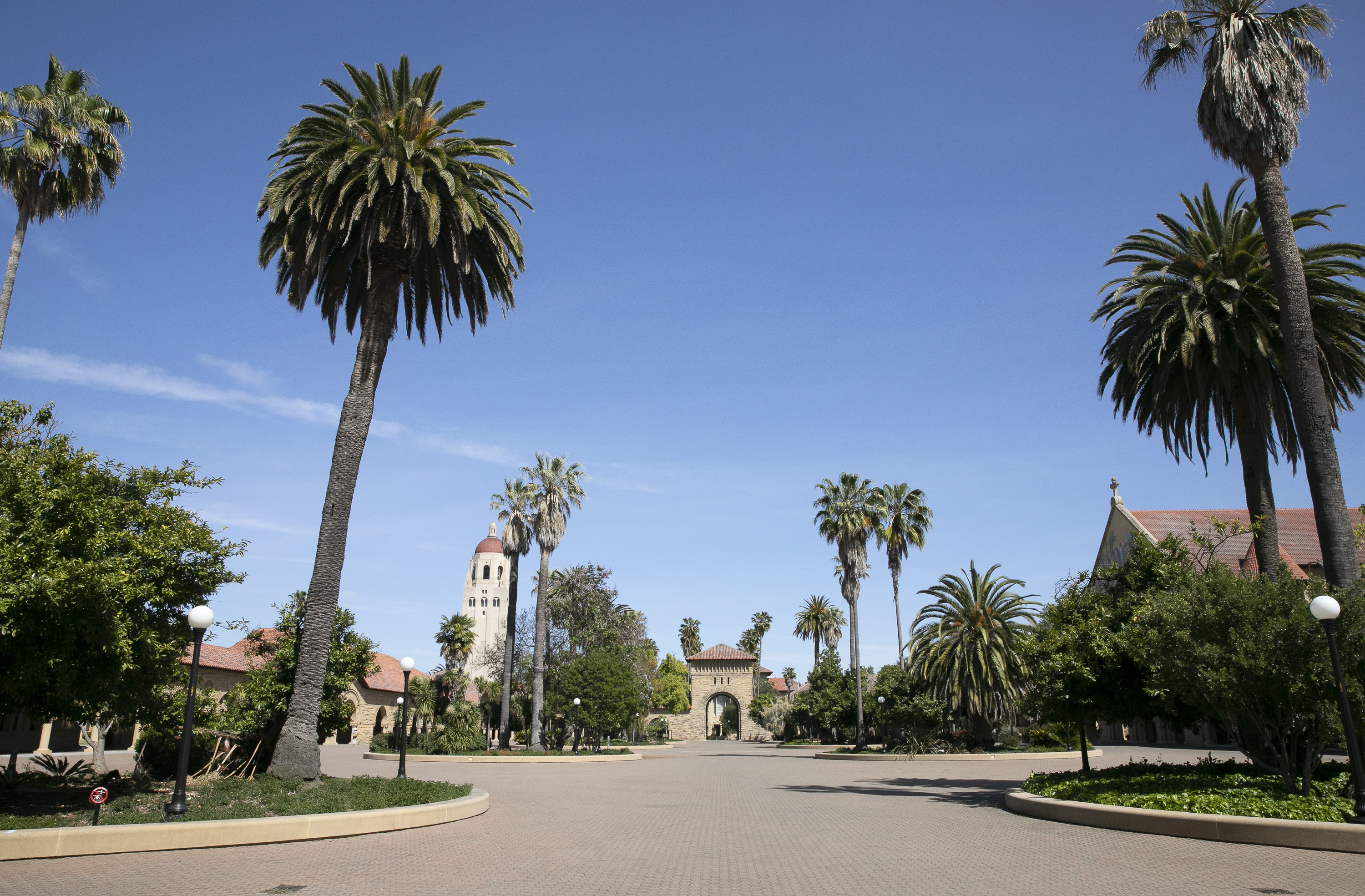 The Stanford University campus is almost deserted on May 7, 2020. Photo by Anne Wernikoff for CalMatters