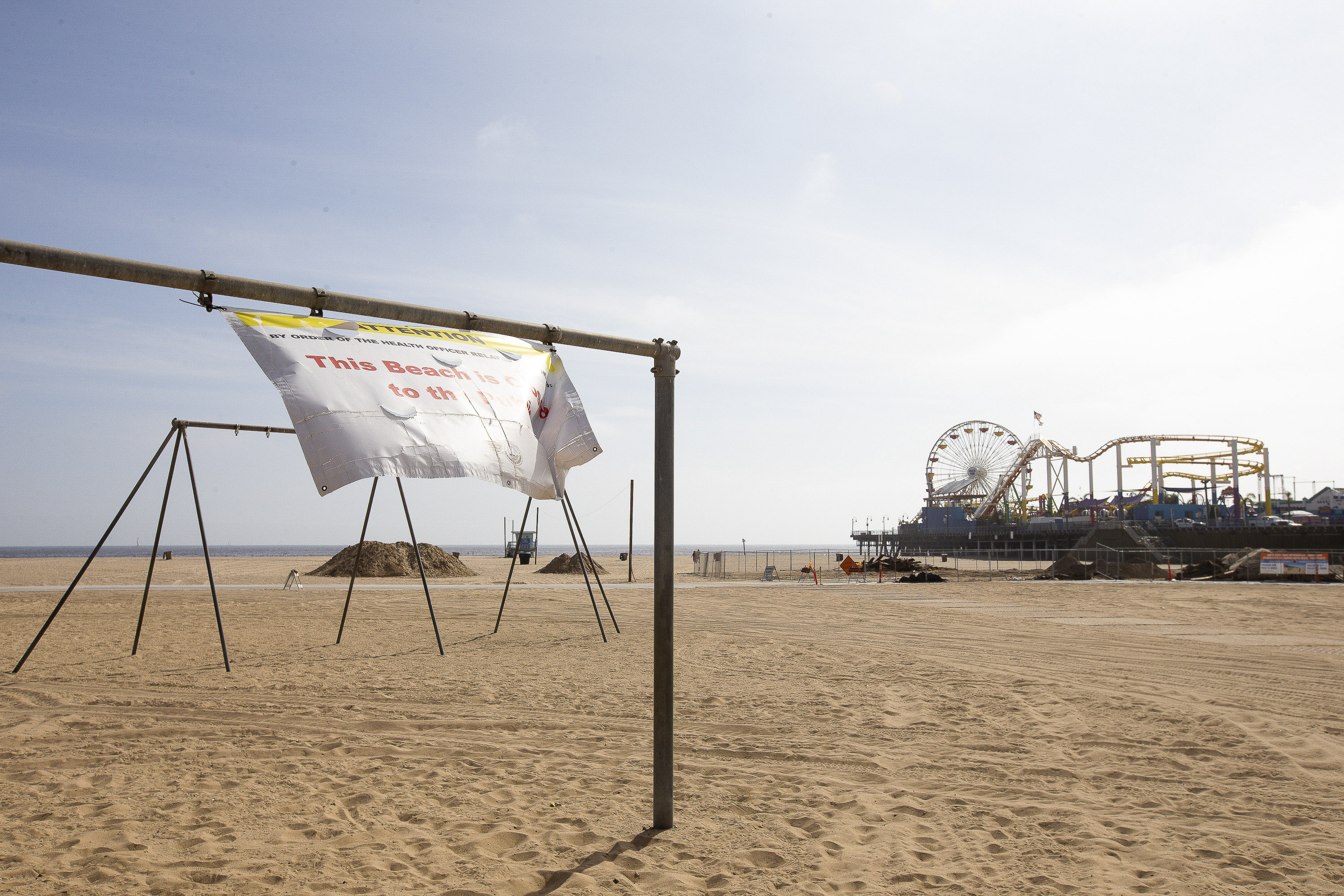 Santa Monica pier, beach and walkways are still closed due to COVID-19, May 8, 2020. Photos by Lisa Hornak for CalMatters.