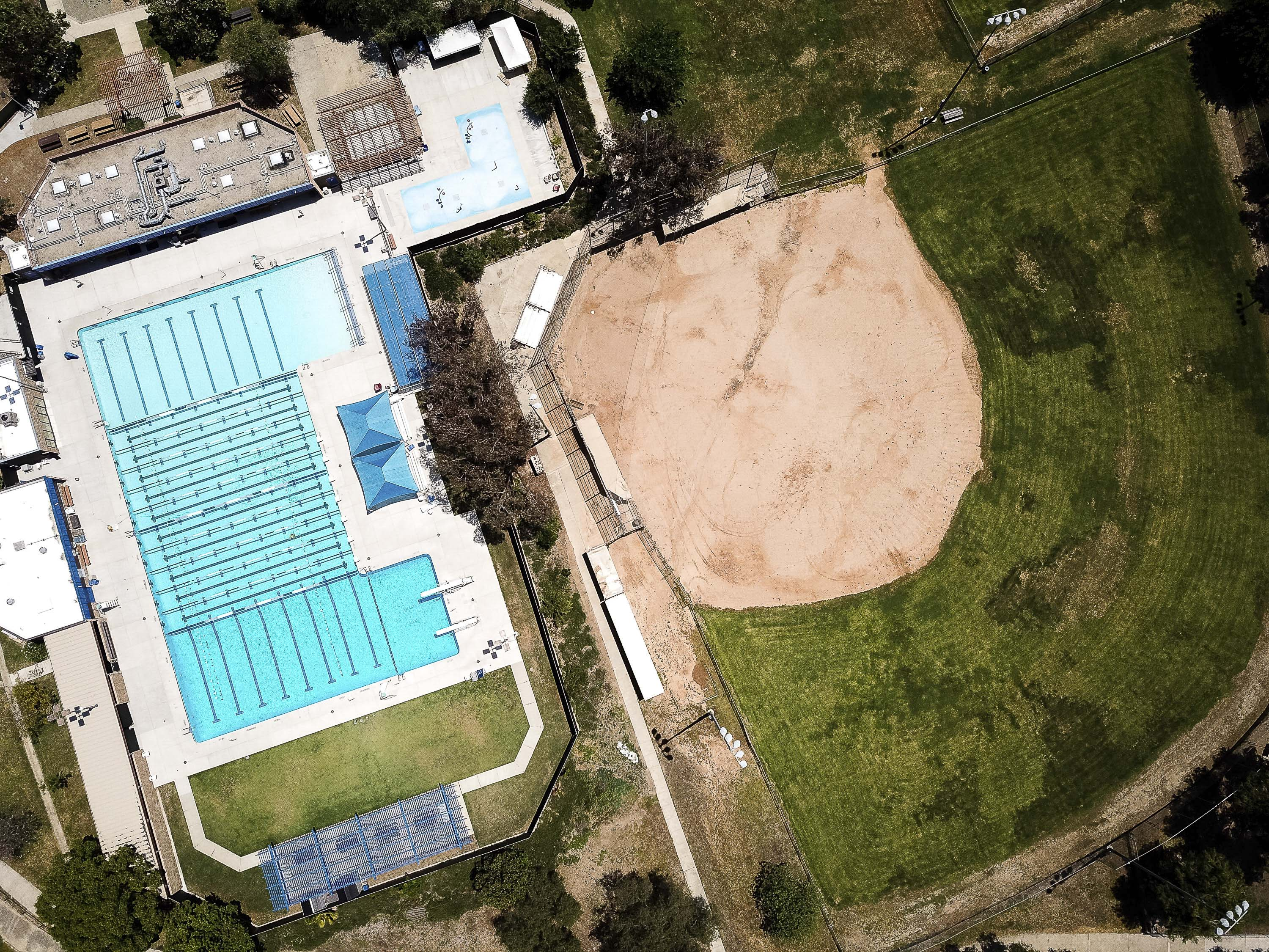 Public pools and little league fields across the county such as these in Poway, remain closed due to COVID-19, May 15, 2020. Photos by Lisa Hornak for CalMatters.