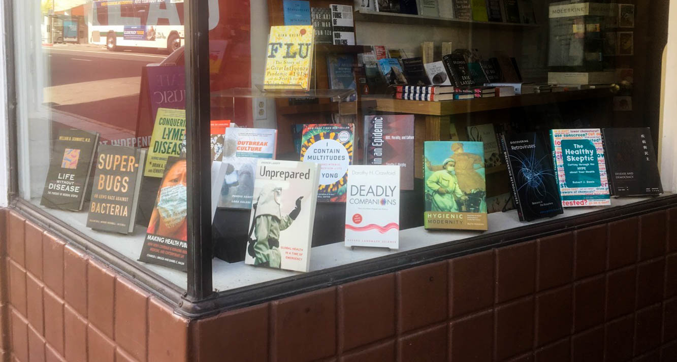 A Berkeley bookstore displays pandemic-related reading. Photo by Vanessa Arredondo