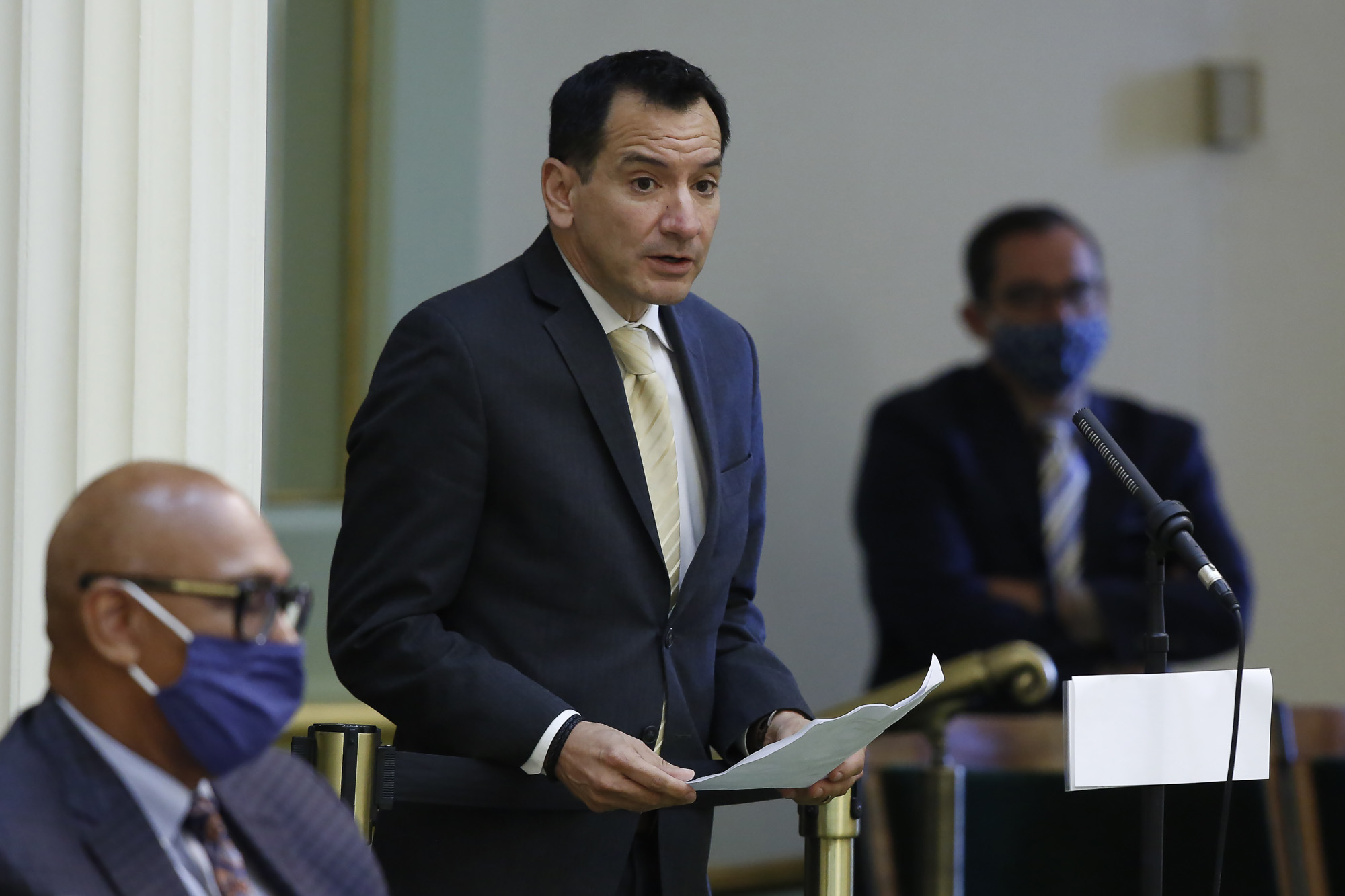 Assembly Speaker Anthony Rendon urges lawmakers to approve the state budget bill, at the Capitol on June 15, 2020. Photo by Rich Pedroncelli, AP Photo
