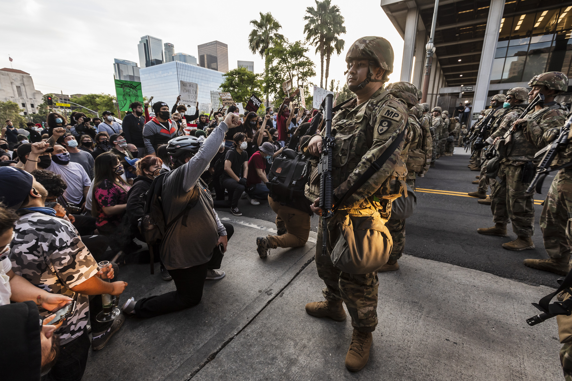 The California National Guard is deployed around Los Angeles City Hall during one of several protests in response to the killing of George Floyd by police in Minneapolis, on May 31, 2020. Photo by Ted Soqui, SIPA USA via AP Images
