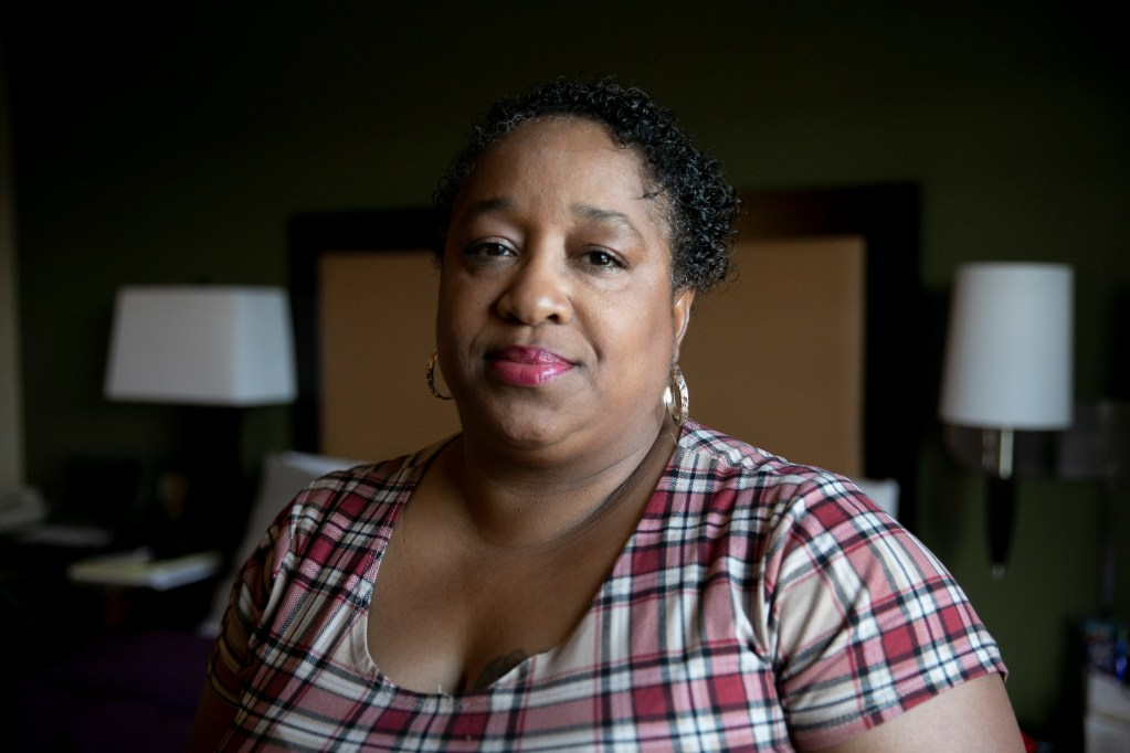 LaShai Daniels in her room at Extended Stay American in Emeryville on June 29, 2020. Daniels has been staying at the hotel since February while working a variety of jobs. Photo by Anne Wernikoff for CalMatters