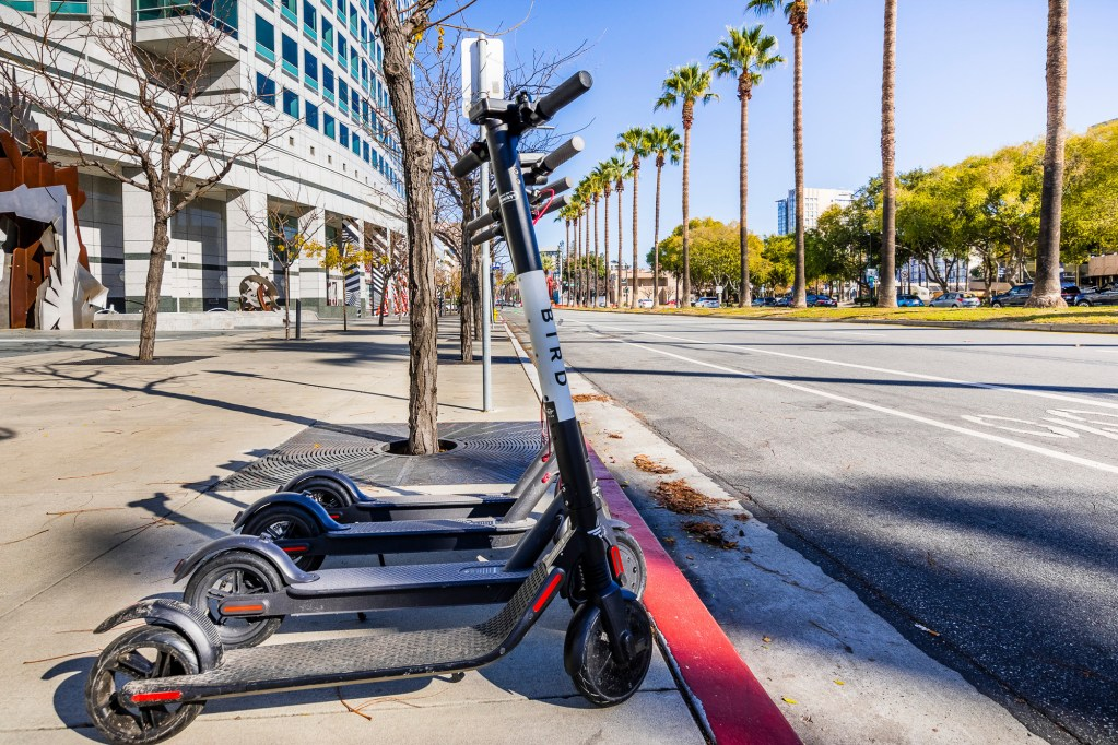 Bird Electric Scooters lined up on a sidewalk in downtown San Jose in 2018. Photo via iStock